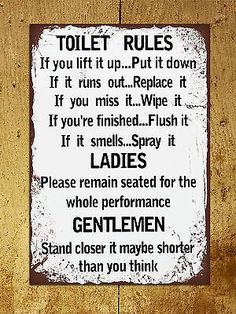 Vintage retro style Toilet Rules funny bathroom metal sign tin wall door plaque