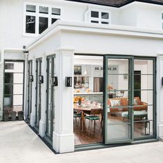 Modern kitchen pictures and photos for your next decorating project. Find inspiration from of beautiful living room images Crittal Doors, Crittall Windows, Conservatory Kitchen, Conservatory Extension, Conservatory Ideas, Spanish Style Bathrooms, Building Extension, Extension Plans, Side Extension