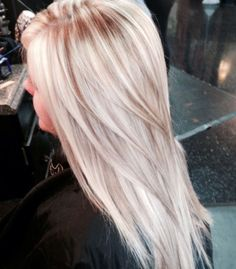 White blonde with sandy/champaign lowlights.