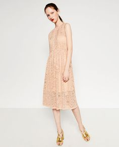 GUIPURE LACE DRESS from Zara with a keyhole back.  Such a pretty blush color.