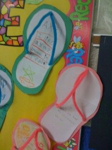 adorable flip flops! absolutely making this for a june bulletin board. must think of something to write on them :)