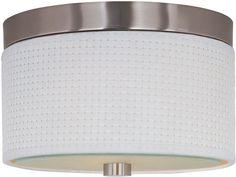 ET2 E95100-100 Elements 2-Bulb Flush Mount Indoor Ceiling Fixture - Fabric Shade Satin Nickel Indoor Lighting Ceiling Fixtures Flush Mount