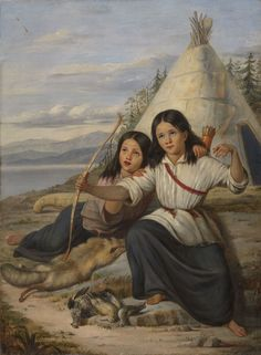 "Zacharie Vincent's work offered a response to the depiction of Natives such as this one, allowing him to reclaim the Native image. Théophile Hamel, ""Young Indian Girls in Lorette,"" Musée national des beaux-arts du Québec. Huron Wendat, Native American Genocide, Native Indian, My Heritage, Before Us, First Nations, Online Art, Painting & Drawing, Nativity"