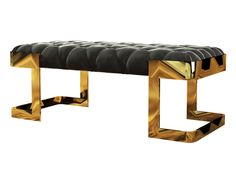 Winfrey Bench - Featuring capitoné #upholstery in crystal grey #velvet, feet in #gold plated brass. Structure in solid pine #wood.