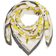 Marc by Marc Jacobs White Lemon Silk Scarf ($190) ❤ liked on Polyvore featuring accessories, scarves, silk scarves, patterned scarves, marc by marc jacobs scarves, pure silk scarves and white silk shawl