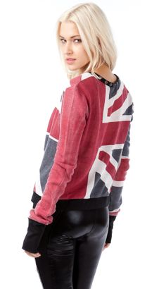 This cardigan features the english flag all over, clasp closure in the front, lightweight comfortable material. Looks awesome over any simple color cami!  Details: -100% Cotton-Dry Clean Only-Imported $32.99
