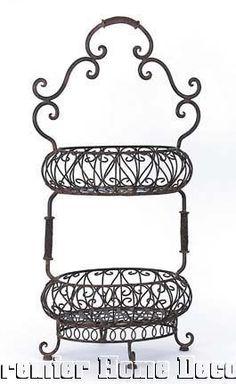 Old World Tuscan Iron 2 Tier Fruit Decorative Filigree Oval Basket