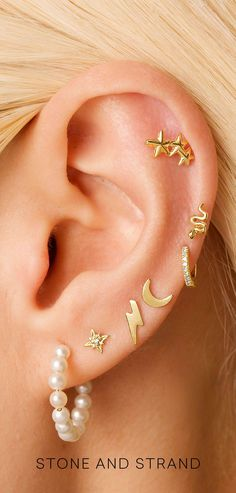 Gold Ear Jackets + Gray Sparkly Spikes - gold ear jacket/ ear jacket spike/ ear jacket gold/ ear jacket earring/ ear cuff/ gifts for her - Fine Jewelry Ideas Ear Cuff Piercing, Pretty Ear Piercings, Ear Peircings, Septum Piercings, Ear Jewelry, Cute Jewelry, Body Jewelry, Jewelry Ideas, Jewelery