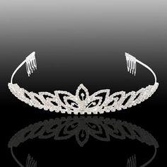 Charming Bridal Clover Style Rhinestone Crown Headband Silver