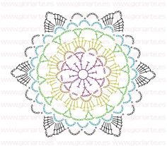 Patterns and motifs: Crocheted motif no.Crochet pattern for scarves, blouses, blankets . Motif Mandala Crochet, Crochet Snowflake Pattern, Crochet Mandala Pattern, Crochet Snowflakes, Crochet Diagram, Doily Patterns, Crochet Chart, Crochet Squares, Crochet Doilies