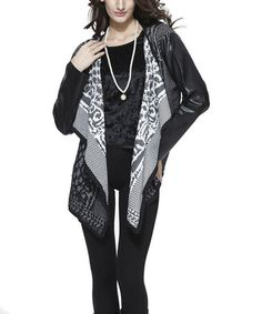 Look at this #zulilyfind! Black Abstract Faux Leather Cardigan, $47 !!  #zulilyfinds