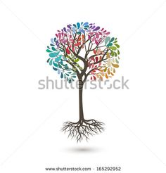Colorful tree, vector illustration