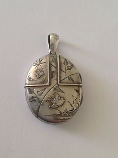 Charming Victorian Sterling Silver Aesthetic Decorated Hinged Oval Locket