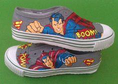 Custom-painted 'Superman' shoes and more handpainted stuff by Shailee Adke on www.facebook.com/shaileeshandpaintedshoes Superman Shoes, Custom Painted Shoes, Geek Out, Kicks, Geek Stuff, Hand Painted, Facebook, Tees, Sneakers