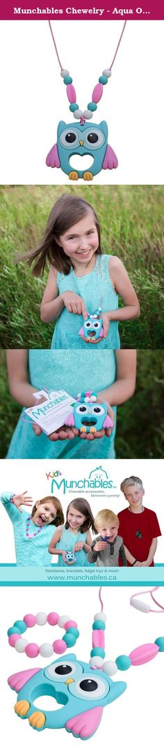 Munchables Chewelry - Aqua Owl Sensory Chew Necklace & Bracelet (Chewable Sensory Aides for Sensory, Oral Motor, Anxiety, Autism). Munchables kids' products are perfect not only as fashion accessories, but also for children that love to chew. Munchables provide a safe alternative to chewing on collars, cuffs, fingers. Made of durable, BPA-free, 100% food-grade silicone, Munchables can reduce anxiety and boost confidence. Munchables offers 'manly' dog tag pendants, adorable beaded…