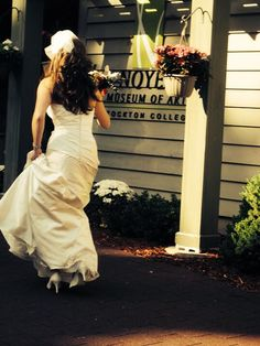 A bride excited for her wedding at The Noyes Museum of Art! #entrance #ceremony #reception #museum