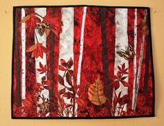 "Fiber Art Quilt Wall Hanging ""Autumn Ablaze"" a landscape quilt applique painting, fiber art, red, orange, birch trees, fall leaves, handmade"
