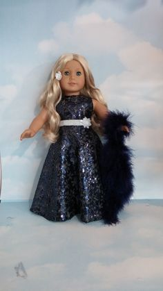 18 inch doll clothes - #254 Navy Blue Sequin Gown handmade to fit the American Girl Doll - FREE SHIPPING by susiestitchit on Etsy