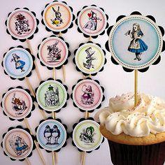 Vintage Alice in Wonderland Cupcake Toppers/Cake Picks