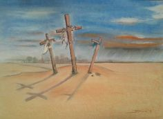 The answer is blowing in the wind - soft pastel op papier