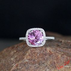 Pink Sapphire Diamond Cushion halo ring white by WanLoveDesigns, $425.00