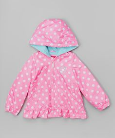 Love this Pink Polka Dot Ruffle Jacket - Toddler & Girls by London Fog on #zulily! #zulilyfinds