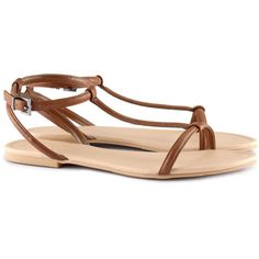 H&M Sandals ($8.70) ❤ liked on Polyvore featuring shoes, sandals, zapatos, flats, h&m, brown, brown flats, strappy shoes, strap sandals and h&m flats