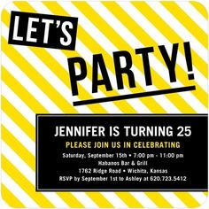 Adult Birthday Party Invitations Party Zone - Front : Lemon