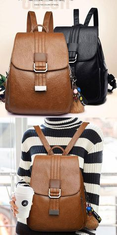 Retro Soft PU Student College Simple Single Button Backpack  backpack  Bag   school   50e2f1863ba24
