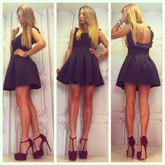 Neoprene Mini Black #Skirt - #Backless #Blouse - Gorgeous Red Burgundy #Vintage High #Heels