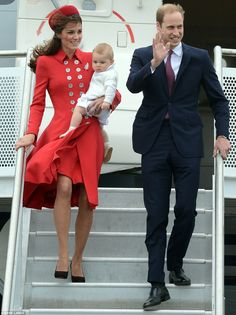 Kate (wearing Catherine Walker coat and Gina Foster hat), William, and George arriving at the Wellington Airport on 4/7/2014
