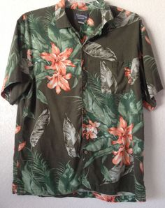 St. John's Bay Tiki Short Sleeve Hawaiian Floral Shirt 100% Washable Silk XL…