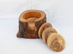 Wooden Rustic Coaster set  $39.00, via Etsy.