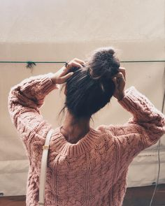 Ligh Pink Sweater & Favorite Hairstyle #messybun #style by collagevintage