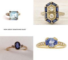 Something Blue Comilation :: Clockwise from top left: Art Deco aquamarine ring from EstateChicago; Antique gold and diamond sapphire Art Deco ring from Erstwhile Jewelry;  Sapphire and pearl engagement ring by by NetaJewelry; Victorian sapphire and diamond hand-etched ring from SeacoastVictorian.