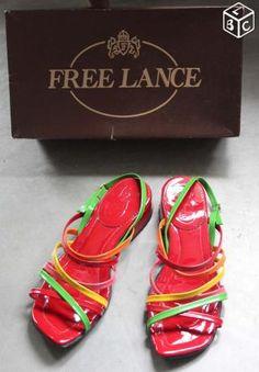 #videdressing Sandales en cuir vernis multicolores Free Lance sur le #boncoin