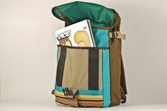 Small backpack in turquoise and brown