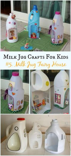 DIY Milk Jug Fairy House Instructions - Recycled Crafts Your Kids Can Do Recycled Milk Jug Crafts Your Kids Can Do: Milk Jug flower, lamp, costume, Art Supply organizer and more easy kids crafts to recycle plastic milk jug Recycled Crafts Kids, Recycled Art Projects, Easy Crafts For Kids, Diy For Kids, Recycle Crafts, Recycled Bottle Crafts, Creative Crafts, How To Make A Fairy House Kids, Crafts With Recycled Materials