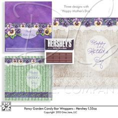 Mother's Day, Birthday , Blanks - Printable Hershey Bar Candy Bar Covers or Wrappers -  Hand made, printable Hershey Bar Wrappers designed by Gina Jane Designs - DAISIE Company