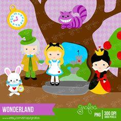 WONDERLAND Digital Clipart, Alicia en el país de las Maravillas Clipart.