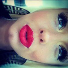 Bright lips + bold lashes