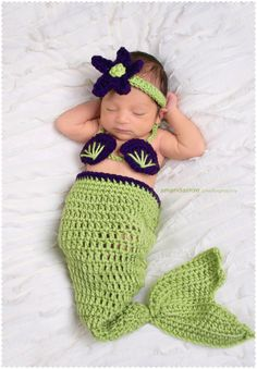 Mermaid Baby Photo Outfit by EmiJessCrochet on Etsy, $31.00