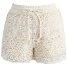 Chicwish Boho Weekend Crochet Shorts in Beige ($36) ❤ liked on Polyvore featuring shorts, beige, relaxed fit shorts, boho shorts, crochet shorts, beige shorts and macrame shorts