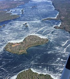 Aerial photo of break-up on Lake Temagami