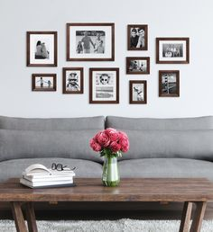 Picture Frame Sets, Wood Picture Frames, Picture On Wood, Picture Wall, Picture Arrangements, Above Couch, Memory Wall, Photo On Wood, Wood Wall