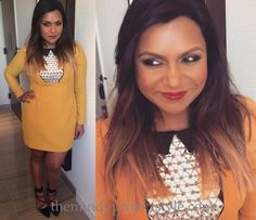 """Mindy wore this bright yellow dress embellished with a crystal bib to """"Mindy Kaling in Conversation with Tina Fey""""(!!!!!!!!) in New York City tonight! It's another custom made Salvador Perez design!"""