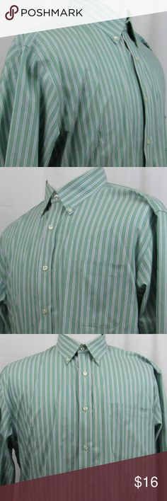 """Lands' End casual purpose long sleeve sport shirt Sharp, nice looking green striped long sleeve sport shirt. No iron pinpoint oxford. I consider it to be in good preowned condition, however please look through the photos to make a determination on the color and condition. My best measurements are:  Shoulder to shoulder: 20 1/2"""" Pit to pit: 24"""" Length: 35"""" Sleeve: 36 1/2""""  INV-H99-170440 Lands' End Shirts Casual Button Down Shirts"""