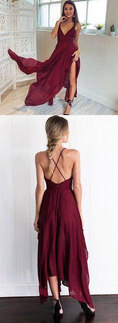 straps burgundy long prom dress homecoming dress, 2017 party dress
