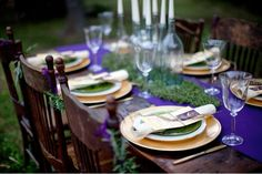 #16 Table Setting Theme gold and purple set in nature.  #modcloth #wedding