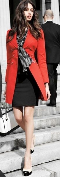 Outfit Posts: outfit post: navy tie-neck blouse, red jacket, black pencil skirt